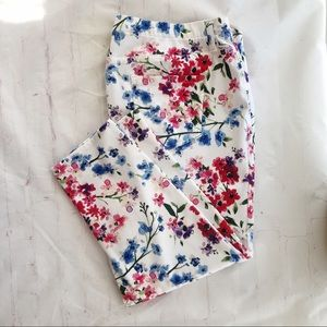 [Faded Glory] pull on floral jean pant crop XXL